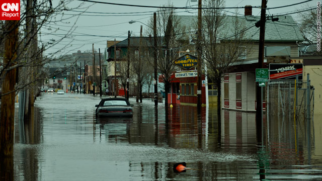 Flooding forced people to abandon cars this week in Providence, Rhode Island, says iReport contributor Chris Mongeau.