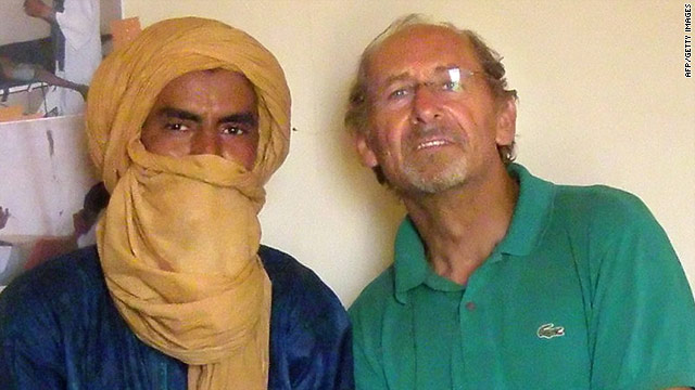 Pierre Camatte, right, pictured with an unidentified man, was kidnapped in November.