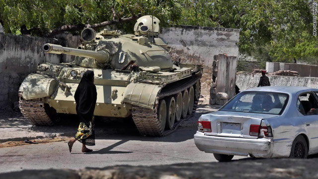 A tank from the African Union peacekeeping forces takes up a position last week in Mogadishu, Somalia's capital.