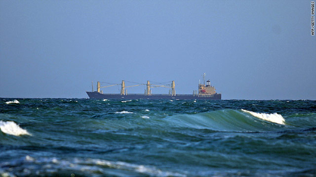 The MV Filitsa seen anchored off the coast of the town of Hobyo in northeastern Somalia on January 5, 2010.