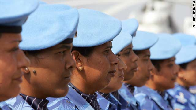 The United Nations' first all-female peacekeeping force of more than 100 Indian policewomen arrive in Monrovia in January 2007.