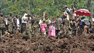 Fresh earth is exposed after massive landslides Monday night in Uganda.