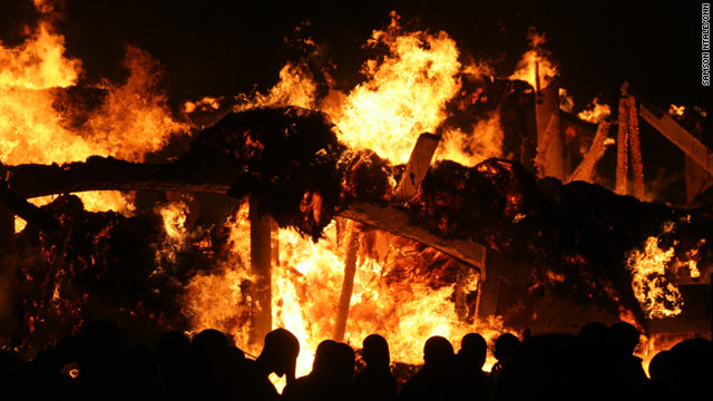 The 128-year-old Tombs of the Buganda Kings are engulfed in flames.