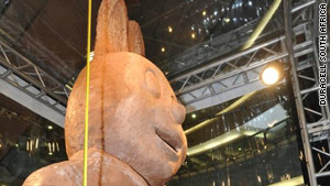 The huge chocolate bunny was carved by four professional sculptors.