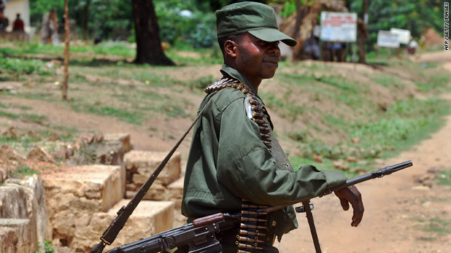 A Congolese army soldier patrols in Mboko in South Kivu in November 2009.