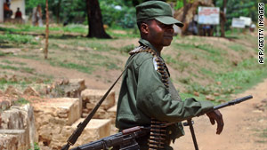 A Congolese army soldier patrols in Mboko in South Kivu in November.