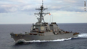 The destroyer USS McFaul is monitoring a Panamanian-flagged vessel  taken over by pirates.