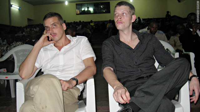 A photo dated December 3, 2009 of Joshua French (R) and Tjostolv Moland in court during their trial in Kisangani.