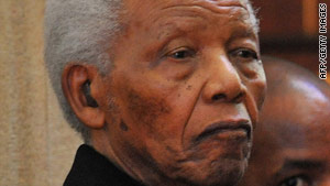 Nelson Mandela attends the funeral of his great-granddaughter at the St Stithian's College Chapel.