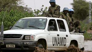 A convoy of UNAMID peacekeepers on patrol in the region in June last year.