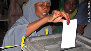 A woman casts her ballot Saturday in Somaliland. More than 1 million had registered to vote, an election official said.
