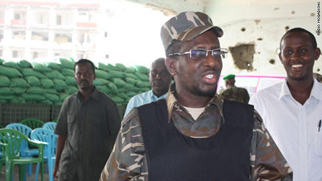 Somali President Sheikh Sharif Sheikh Ahmed enters front-line action  in Mogadishu on Wednesday.