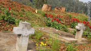 A mass grave in Rwanda marks the site where a church was bulldozed as part of the 1994 genocide.