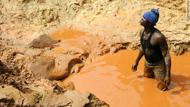 A man at a gold mine in Chudja, near Bunia, north eastern Congo in February 2009.