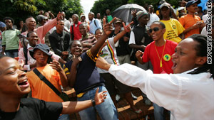 Students protest against a racist video in February 2008 in Bloemfontein, South Africa.