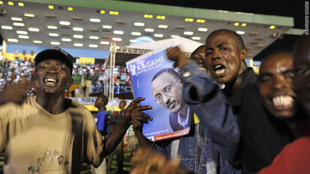 Supporters of President Paul Kagame celebrate at a rally in Kigali on Tuesday.