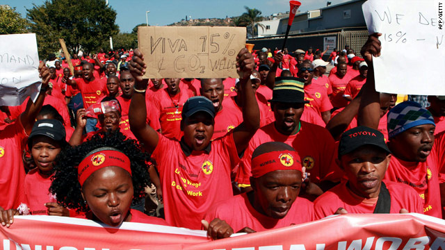 Union members rally in Durban, South Africa, on August 17. The country has seen widespread strikes in recent weeks.