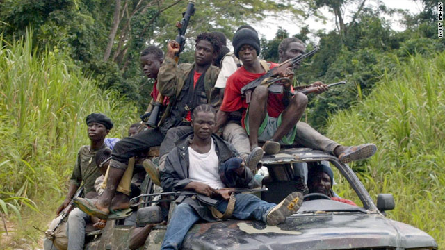 "Liberian rebels in 2002. Liberia's civil war was partly funded by ""blood diamonds."""