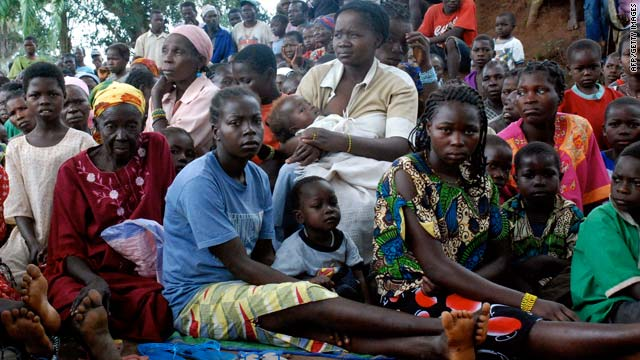 Southern Sudanese wait for food, shelter, security and medicine at the village of Nzara, Sudan.