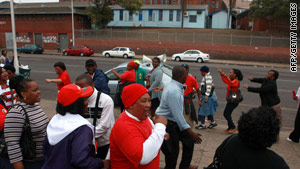 National and Health Workers Union (NEHAWU ) members protest outside a Durban hospital on Thursday.