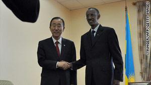 U.N. Secretary General Ban Ki-moon, left, shakes hands with Rwandan President Paul Kagame on Wednesday.