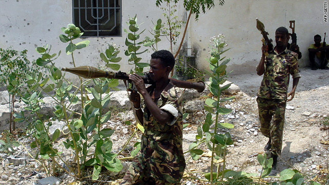 A Somali government soldier takes aim with an RPG during exchanges with Islamist insurgents in Mogadishu earlier this year.