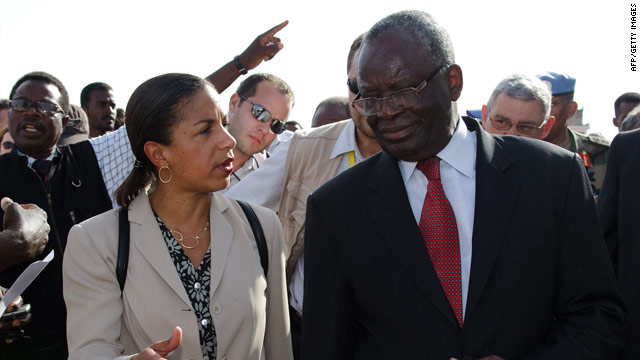 U.S. Ambassador to the U.N. Susan Rice speaks with UNAMID Joint Special Rep. Ibrahim Gambari in North Darfur Thursday.