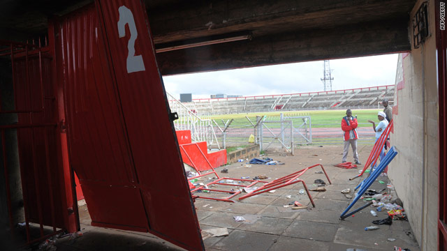 The entrance at the Nyayo National Stadium in Nairobi, Kenya, where seven fans were killed Saturday during a stampede.