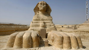 The Sphinx depicts the pharaoh as a human-headed lion, wearing the headdress of the pharaohs.