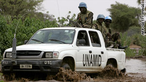 A UNAMID convoy near Nyala in 2009.