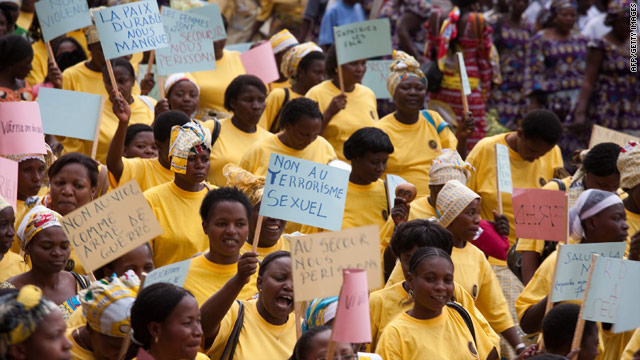 Women participate in the World March of Women in Bukavu, South Kivu Province in the DRC, on October 17, 2010.