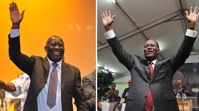 Ivorian president Laurent Gbagbo, left, led rival former Prime Minister Alassane Ouattara, right, in the first round.