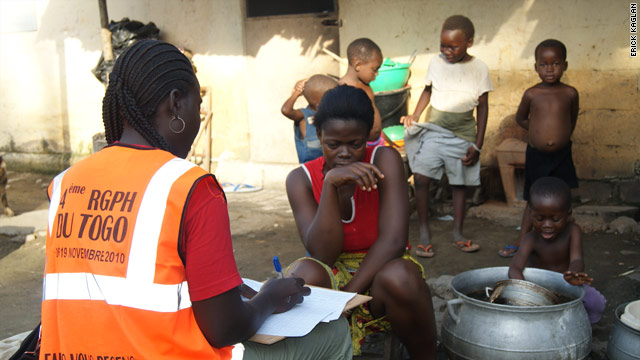 The U.N. says failure to hold a regular census has affected Togo's economic planning. Here, a census taker works in Lome.