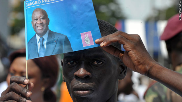 A supporter of incumbent President Laurent Gbagbo attends a campaign meeting on November 26, 2010 in Abidjan, Ivory Coast.