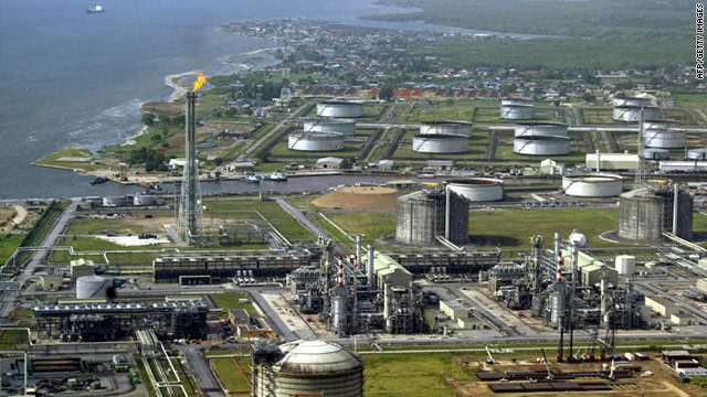 Shell Oil's oil and gas terminal on Bonny Island in southern Nigeria's Niger Delta in a file image taken on May 18, 2005.