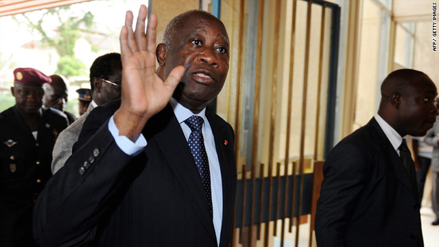 Ivory Coast's incumbent President Laurent Gbagbo arrives at the presidential palace in Abidjan.