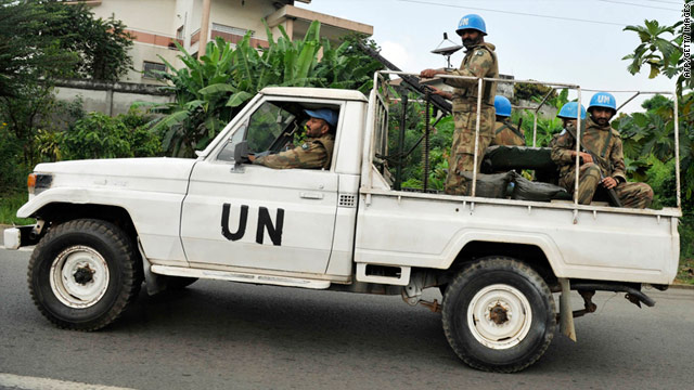 U.N. peacekeepers patrol the streets of Abidjan, Ivory Coast, earlier this month.