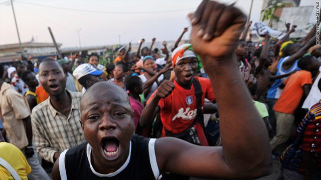 Supporters of Ivory Coast's presidential candidate Alassane Ouattara gather on the streets of Bouake on December 3.