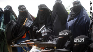 Somali women attend a demonstration by the hardline Al Shabaab in Mogadishu, Somalia.