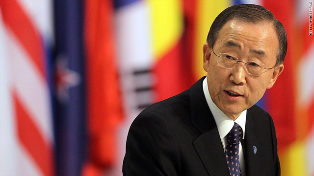 U.N. Secretary General Ban Ki-Moon speaks to reporters during a press conference on November 20, 2010 in Lisbon, Portugal.