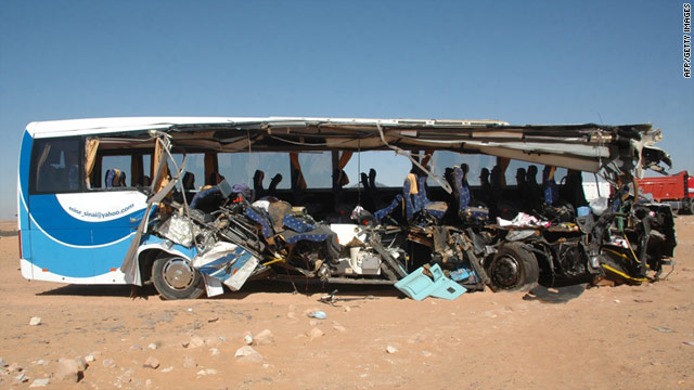 Authorities in Egypt say a tour bus carrying 37 tourists crashed into a parked dump truck in Aswan, Egypt.