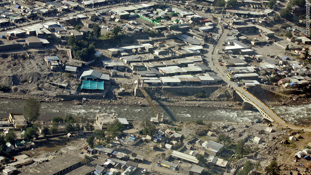 Aerial view shows the devastated Pakistani town of Balakot which was virtually destroyed by a quake in October, 2005.