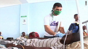 Cuban doctors move quickly to save lives at a hospital in Haiti.