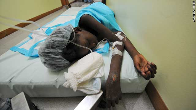 Mendji Bahina Sanon, 11, sleeps at a hospital in Port-au-Prince on Tuesday. She survived more than a week under the rubble of her collapsed house.