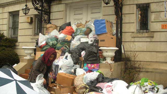 Donations pile up outside the Haitian embassy in Washington after a survival kit drive on January 17, 2010.
