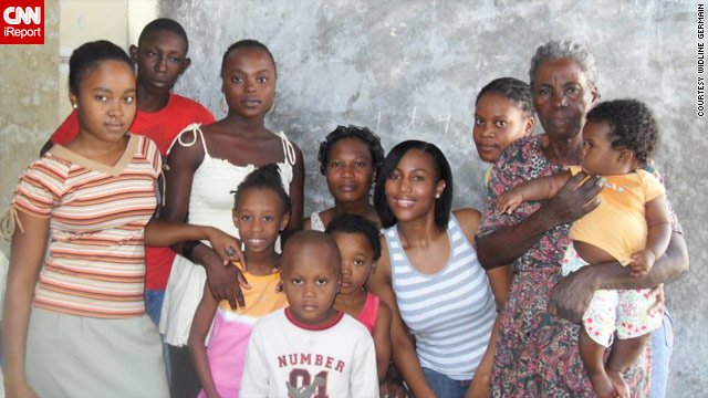 Widline Germain, in blue striped top, and her relatives in Haiti a few days before the earthquake.