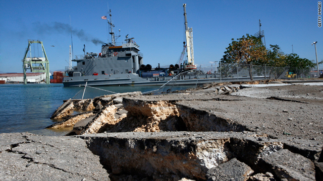 A U.S. military ship carrying supplies docks at the Industrial Port on Thursday in the Haitian capital Port-au-Prince.