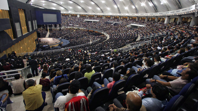 Around 12,000 people participate in a service at the Christian Fraternity of Guatemala church near Guatemala City.