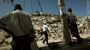 Homes and buildings remain in ruins after a 7.0 earthquake hit Haiti on January 12.