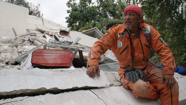 Hector Mendez, 46, travels from Mexico to help search for survivors of disasters around the world, including Haiti.